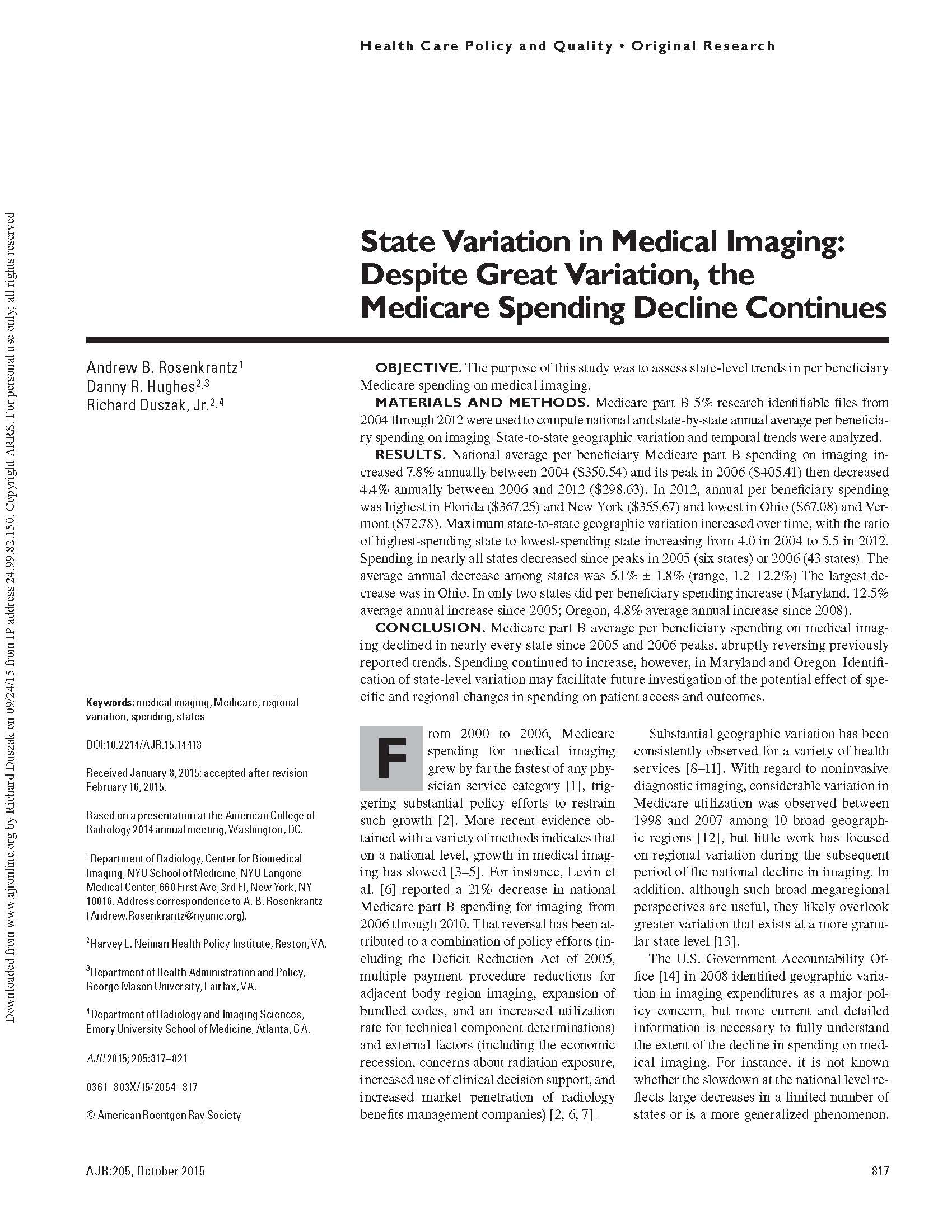 State Variation in Medical Imaging: Despite Great Variation