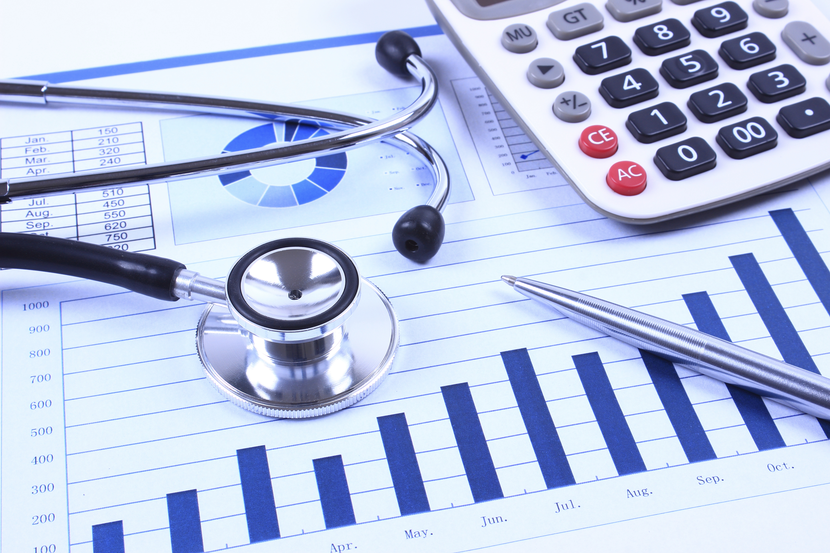 Financial statement with stethoscope and calculator